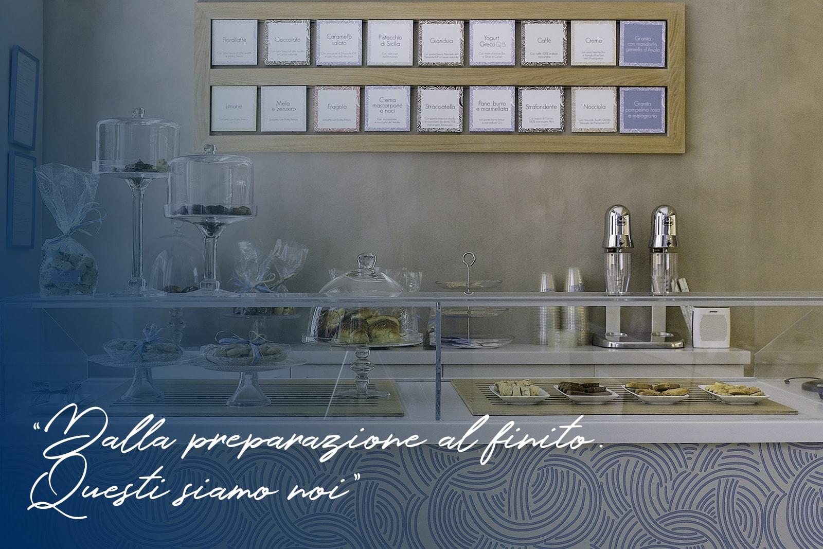 Arredamento gelateria realizzato da Fedeli Commerciale per la Gelateria QB, Milano