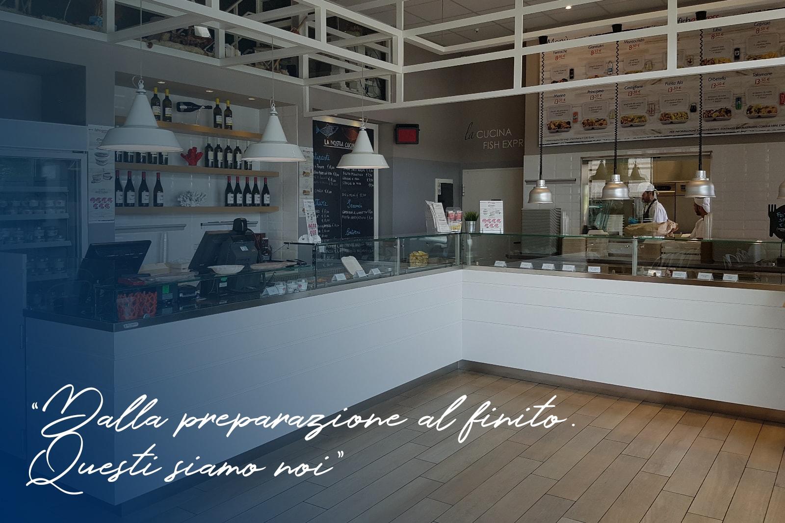 arredamento bar e ristoranti a Grosseto- allestimento Guadagnoli Fish express
