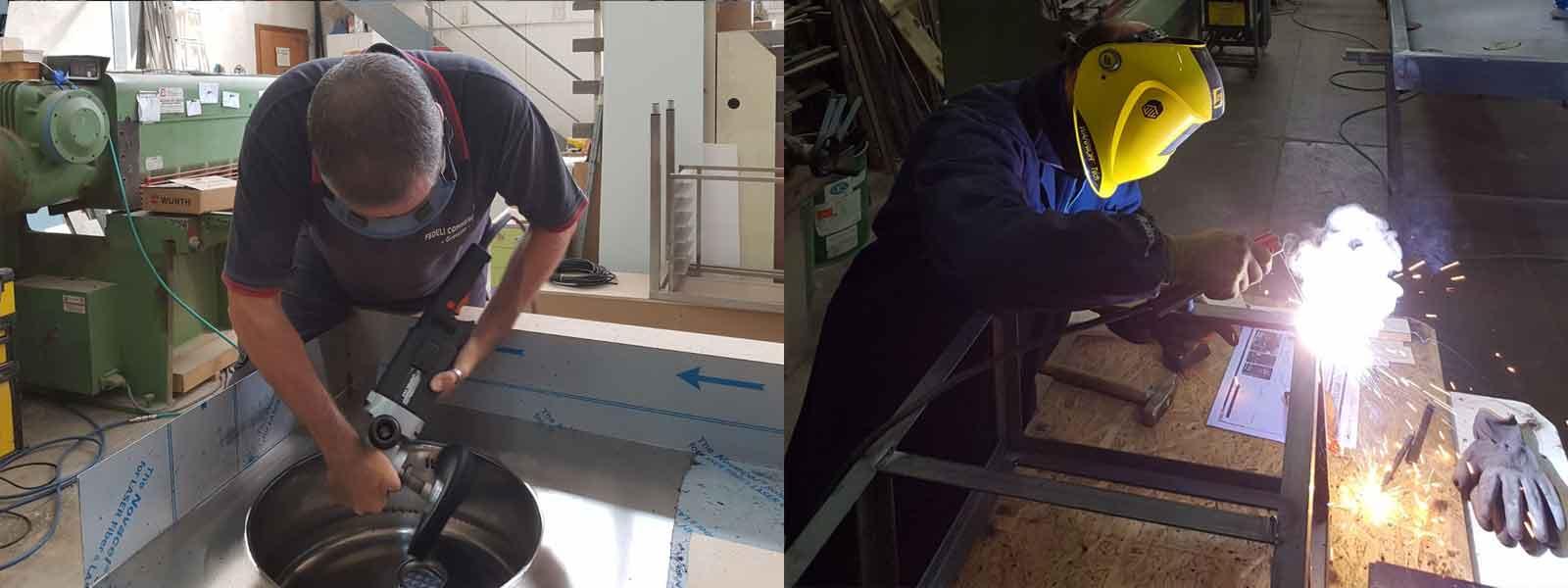 Fasi della lavorazione acciaio nel reparto realizzazione arredamento per bar e ristoranti a Grosseto